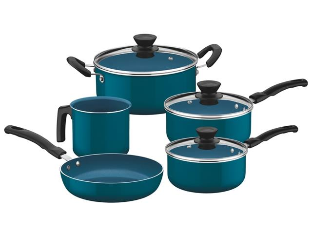 Jogo de Panelas Tramontina Évora Cerâmica e Silicone Azul 5 Peças