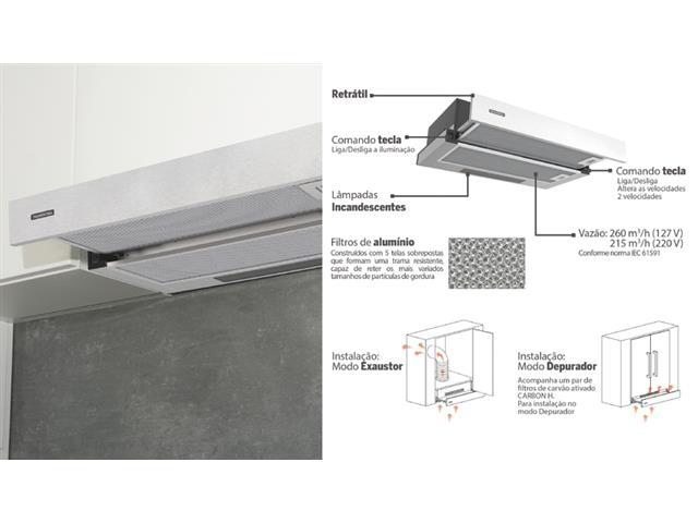 Depurador de Parede Retrátil Tramontina Slide 60 em Aço Inox 60CM 110V - 3