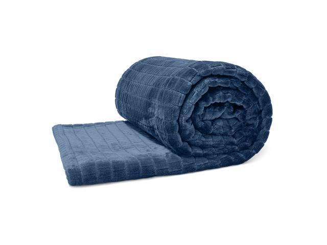 Manta Buettner Solteiro Ambiance Blocos Brilho Flannel Azul