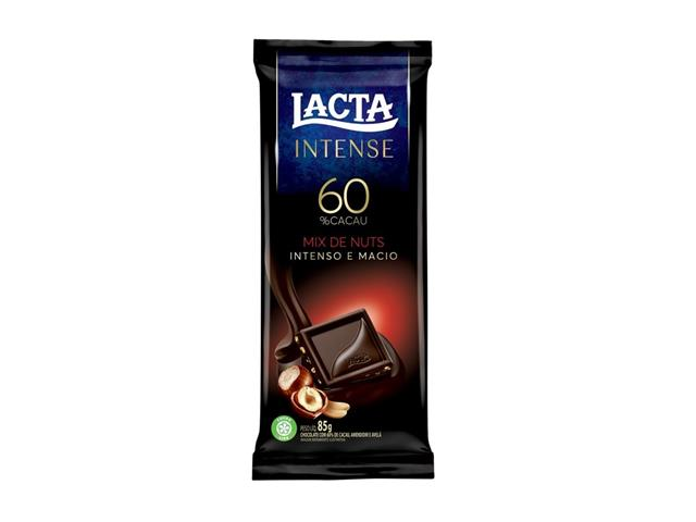 Caixa Chocolate Meio Amargo Lacta Intense 60% Cacau Mix de Nuts 17 Uni