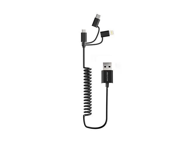 Cabo Espiral 3 em 1 Preto Multilaser Micro USB + USB-C + iPhone
