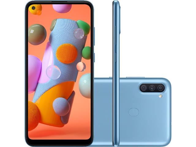 """Smartphone Samsung Galaxy A11 Azul 64GB, Câmera Tripla,Tela Infinita de 6.4"""", Leitor de Digital, Octa Core, 3GB RAM, Carregamento Rápido e Android 10"""