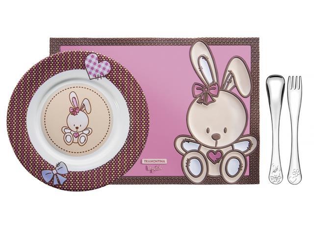 Jogo Porcelana Infantil Tramontina Le Petit Rosa 4 Peças