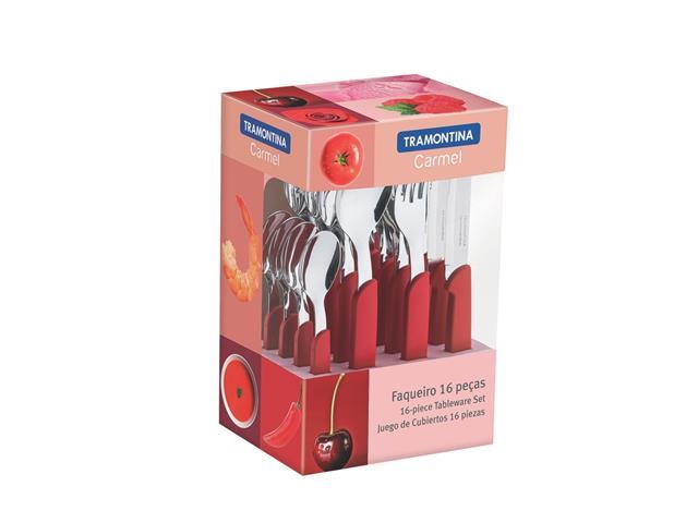 Conjunto de Talheres Tramontina Carmel Vermelho 16 Peças - 1