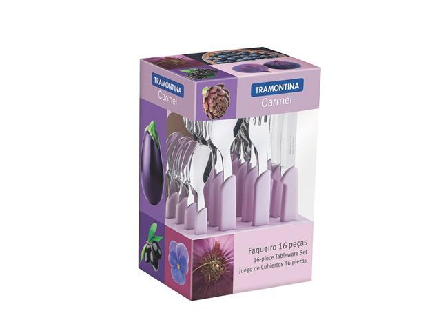 Conjunto de Talheres Tramontina Carmel Purpura/Claro 16 Peças - 1