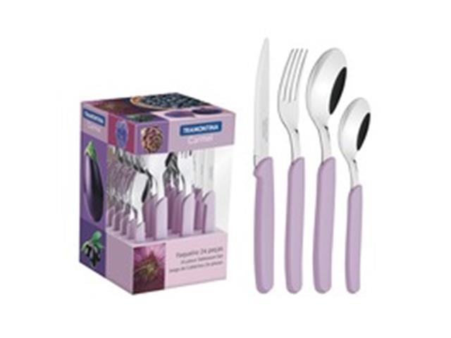 Conjunto de Talheres Tramontina Carmel Purpura/Claro 24 Peças