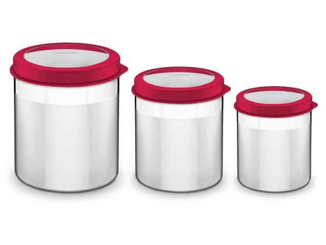 Jogo de Potes Inox com Tampa Plástica Tramontina Vermelho 3 Peças