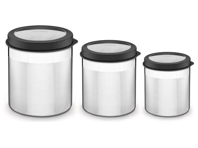 Jogo de Potes Inox com Tampa Plástica Tramontina Preto 3 Peças
