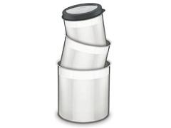 Jogo de Potes Inox com Tampa Plástica Tramontina Preto 3 Peças - 1