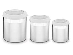 Jogo de Potes Inox com Tampa Plástica Tramontina Branco 3 Peças