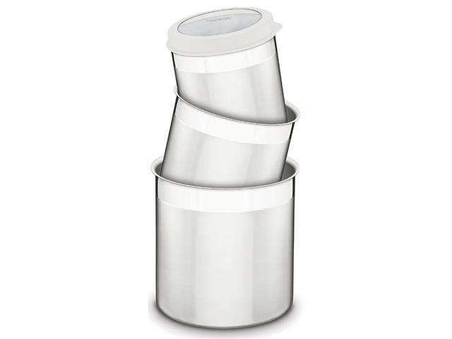 Jogo de Potes Inox com Tampa Plástica Tramontina Branco 3 Peças - 1