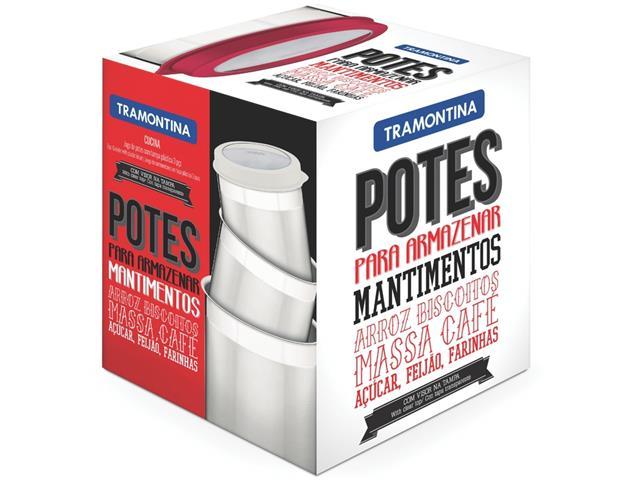 Jogo de Potes Inox com Tampa Plástica Tramontina Branco 3 Peças - 2