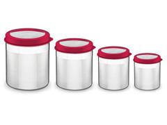 Jogo de Potes Inox com Tampa Plástica Tramontina Vermelho 4 Peças - 0