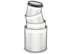 Jogo de Potes Inox com Tampa Plástica Tramontina Preto 4 Peças - 1