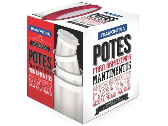 Jogo de Potes Inox com Tampa Plástica Tramontina Branco 4 Peças - 2