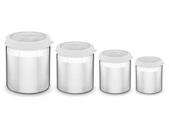 Jogo de Potes Inox com Tampa Plástica Tramontina Branco 4 Peças