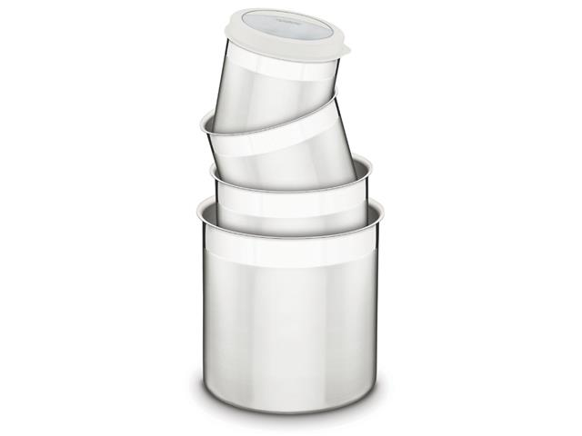 Jogo de Potes Inox com Tampa Plástica Tramontina Branco 4 Peças - 1