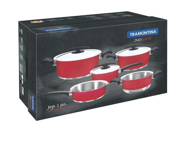 Jogo de Panelas Tramontina Duo Color Vermelho 5 peças - 1