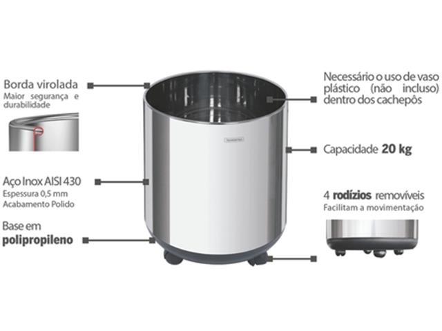 Cachepô Tramontina Belt Color em Aço Inox 20kg - 2