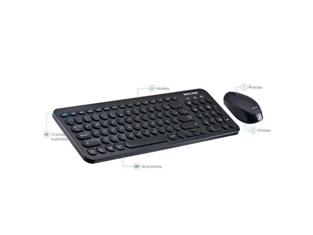 Combo Multilaser Teclado e Mouse Sem Fio Teclas Redondas USB Preto - 1
