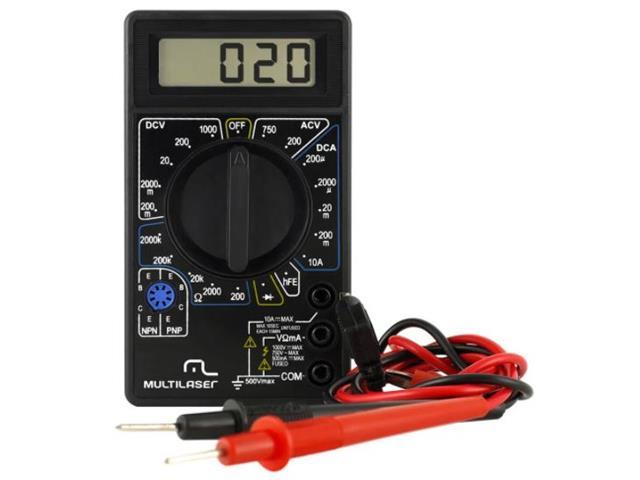 Multímetro Digital Multilaser AU325 Bateria 9v Preto
