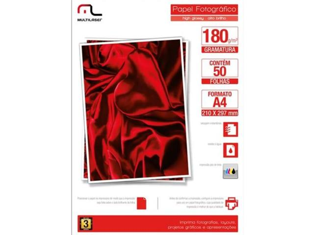 Papel Fotográfico Glossy Paper Multilaser A4 180G Branco 50 Folhas