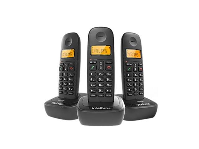 Combo Telefone sem Fio com 2 Ramais Adicionais Intelbras TS 2513 Preto