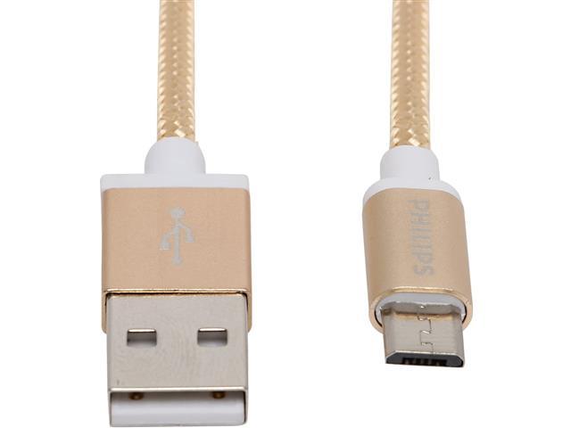 Cabo com Conector Philips Tipo USB para Micro USB Dourado 120CM - 1