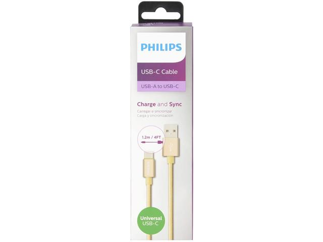 Cabo com Conector Philips Tipo USB para Tipo C Dourado 120CM - 5