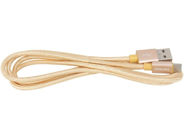 Cabo com Conector Philips Tipo USB para Tipo C Dourado 120CM - 4