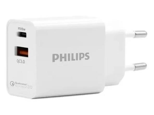 Carregador de Parede Super Rápido Philips 2 Entradas QC3.0 e PD18W