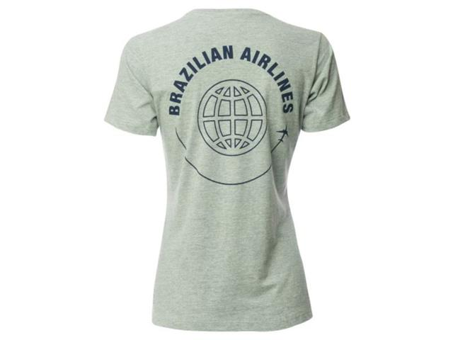 Camiseta Feminina Azul Collection Brazilian Airlines Cinza Mescla PP - 1