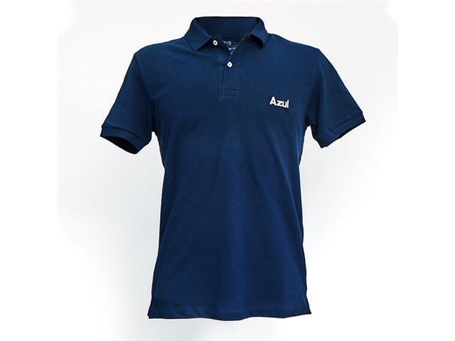 """Camisa Polo Azul Collection Logo """"AZUL"""" Azul Marinho G"""
