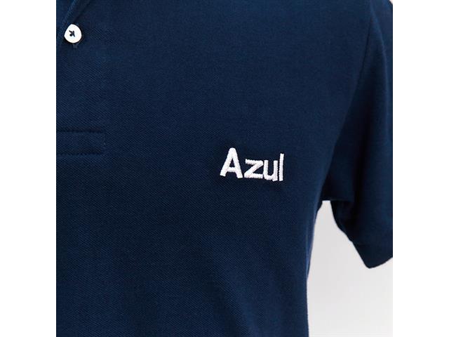 """Camisa Polo Azul Collection Logo """"AZUL"""" Azul Marinho G - 1"""