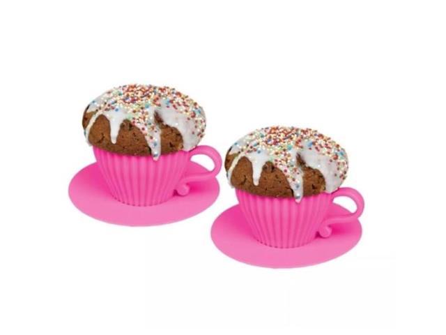 Conjunto Prana 2 Xícaras para Cupcake em Silicone Culinário Rosa
