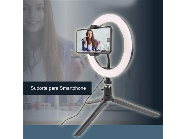 Suporte para Smartphone Vivitar Ring Light com Controle e Powerbank - 1