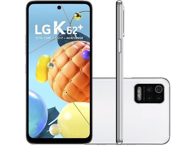 """Smartphone LG K62+ Branco 128GB, Tela de 6.6"""", Câmera Traseira Quádrupla, Android 10, Inteligência Artificial e Processador Octa-Core"""