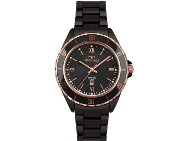 Relógio Technos Ceramic Saphire Feminino Rosé 2015CAN/4P
