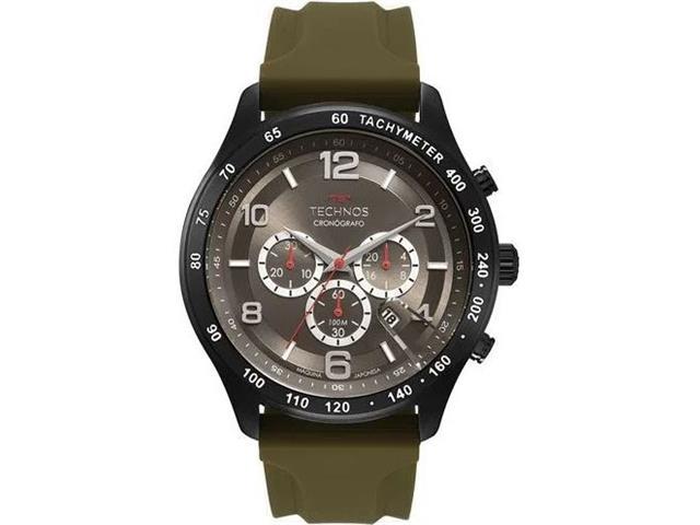 Relógio Technos Masculino Grandtech Preta com Silicone Verde JS25CI/8C