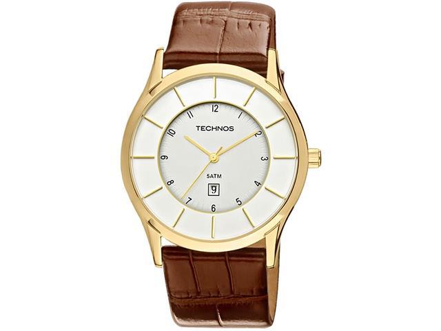 Relógio Masculino Technos Dourado com Pulseira de Couro VX826AC/2K
