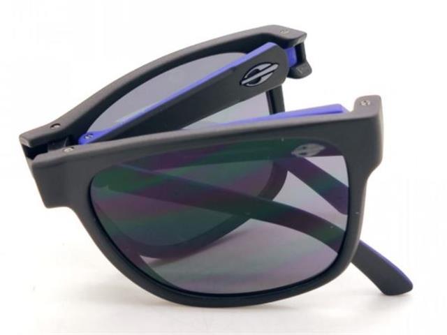 Óculos de Sol Mormaii Origami Dobrável Preto Fosco e Azul - 2
