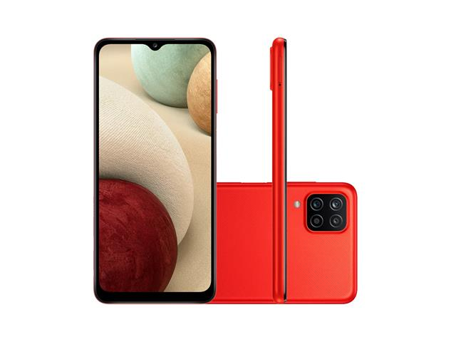 """Smartphone Samsung Galaxy A12 Vermelho 64GB, Tela Infinita de 6.5"""", Câmera Quádrupla, Bateria 5000mAh, 4GB RAM e Processador Octa-Core - 1"""