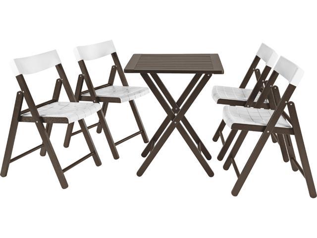 Conjunto de Mesa e Cadeira Tramontina Potenza Tabaco/Branco 5 Peças
