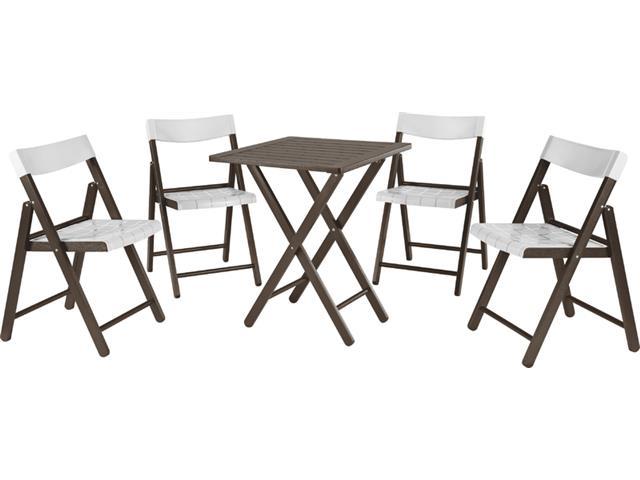 Conjunto de Mesa e Cadeira Tramontina Potenza Tabaco/Branco 5 Peças - 1