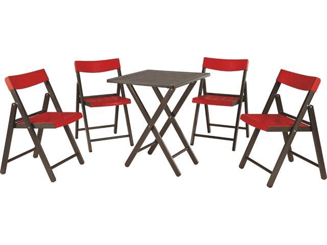 Conjunto de Mesa e Cadeira Tramontina Potenza Tabaco/Vermelho 5 Peças