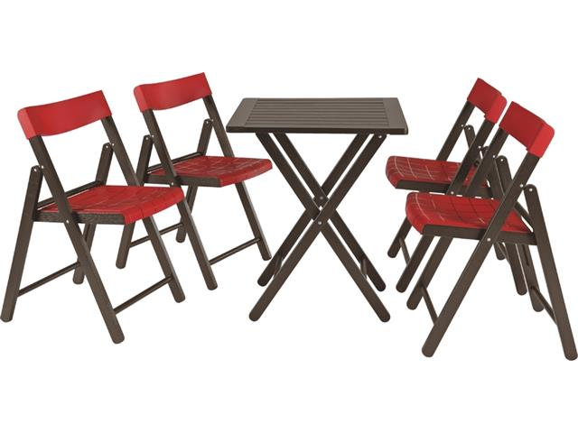 Conjunto de Mesa e Cadeira Tramontina Potenza Tabaco/Vermelho 5 Peças - 1