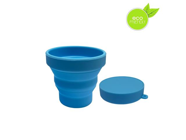 Copo Plástico Retrátil Yuze com Tampa 100ML Azul