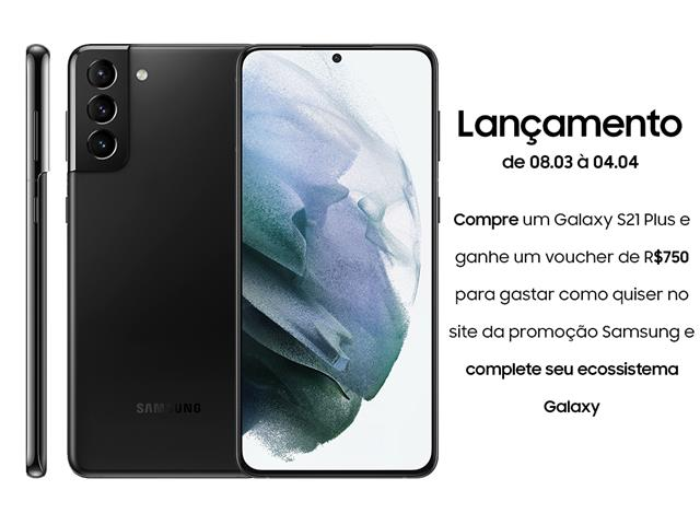 "Smartphone Samsung Galaxy S21+ 5G 128GB 6.7"" 8GB RAM 64+12+12MP Preto"