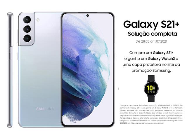 "Smartphone Samsung Galaxy S21+ 5G 128GB 6.7"" 8GB RAM 64+12+12MP Prata"