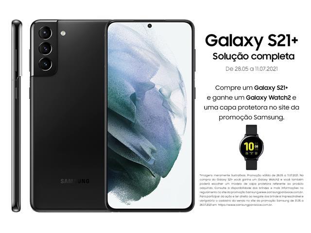 "Smartphone Samsung Galaxy S21+ 5G 256GB 6.7"" 8GB RAM 64+12+12MP Preto"